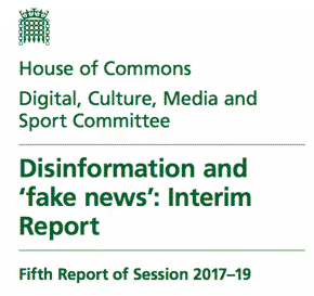 DCMS report on 'fake news'